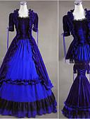 halpa Vanhan maailman asut-Rokokoo Viktoriaaninen Asu Naisten Mekot Juhla-asu Sininen Vintage Cosplay Puuvilla Lyhythihainen Holkki Kokopitkä Pluskoko Räätälöidyt
