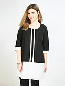 cheap Women's Dresses-Really Love Women's Plus Size T-shirt - Color Block Patchwork