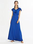 お買い得  プラスサイズドレス-女性用 プラスサイズ ビーチ ボヘミアン シース ドレス - ラッフル, ソリッド マキシ Vネック