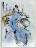 رخيصةأون فساتين للنساء-هانغ رسمت النفط الطلاء رسمت باليد - تجريدي معاصر كنفا