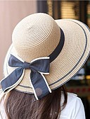baratos Chapéus Femininos-Mulheres Férias Poliéster, De Palha - Côr Pura Sólido / Fofo / Primavera / Verão