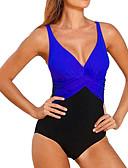 cheap Women's Skirts-Women's Plus Size Strap Red Blue Royal Blue Briefs One-piece Swimwear - Color Block Black & White Patchwork XXL XXXL 4XL