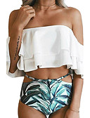 cheap Women's Swimwear & Bikinis-Women's Off Shoulder Bandeau Bikini - Floral, Ruffle Print High Waist