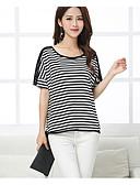 abordables Blusas para Mujer-Mujer Algodón Camiseta A Rayas