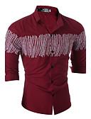 olcso Férfi pólók és pulóverek-Kínai Klasszikus gallér Férfi Pamut Ing - Kockás / Hosszú ujj