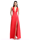 cheap Evening Dresses-A-Line Plunging Neck Floor Length Satin Cut Out Prom / Formal Evening Dress with Split Front by TS Couture®