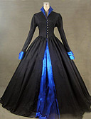 cheap Historical & Vintage Costumes-Rococo / Victorian Costume Women's Dress / Party Costume / Masquerade Black Vintage Cosplay Satin Long Sleeve Cap Sleeve Floor Length