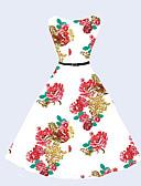baratos Vestidos de Mulher-Mulheres Vintage Moda de Rua balanço Vestido Floral Altura dos Joelhos