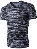 voordelige Exotisch herenondergoed-Heren Actief Print T-shirt Katoen, Sport Gestreept Heelal Overhemdkraag