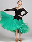 cheap Ballroom Dance Wear-Ballroom Dance Dresses Performance Tulle Velvet Draping Splicing Long Sleeves Natural Dress