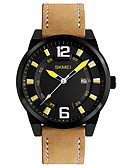 cheap Dress Watches-SKMEI Men's Wrist Watch Japanese Calendar / date / day / Water Resistant / Water Proof / Cool Leather Band Casual / Fashion / Dress Watch Brown