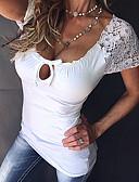 preiswerte Hemd-Damen Solide T-shirt, U-Ausschnitt