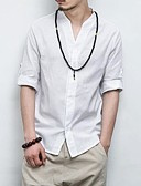 cheap Men's Shirts-Men's Casual Chinoiserie Linen Slim Shirt - Solid Colored Standing Collar
