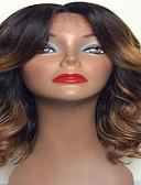 olcso Esküvői ajándékok-Emberi haj Tüll homlokrész / Csipke eleje Paróka Hullámos haj Paróka 130% Ombre haj / Természetes hajszálvonal / Afro-amerikai paróka Női Rövid / Közepes / Hosszú Emberi hajból készült parókák