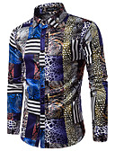 cheap Men's Shirts-Men's Party Chinoiserie Cotton Slim Shirt - Abstract Print / Long Sleeve