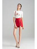 baratos Conjuntos para Meninas-Mulheres Cintura Alta Delgado Shorts Chinos Calças - Sólido, Em Cruz