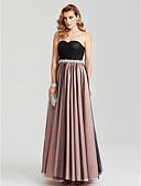 cheap Cocktail Dresses-A-Line Sweetheart Neckline Floor Length Satin / Tulle Color Block Prom / Formal Evening Dress with Beading / Bow(s) / Pleats by TS Couture®