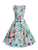 cheap Women's Dresses-Women's Beach Vintage Street chic Swing Dress - Floral, Pleated High Rise