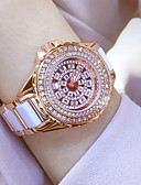 cheap Quartz Watches-Women's Bracelet Watch / Wrist Watch Chinese Water Resistant / Water Proof / Creative / Imitation Diamond Stainless Steel Band Charm / Luxury / Sparkle White / Gold / One Year / Xingguang 377