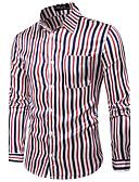 baratos Camisetas & Regatas Masculinas-Homens Camisa Social Temática Asiática Quadriculada Algodão Colarinho Clássico / Manga Longa