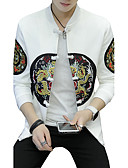 cheap Men's Jackets & Coats-Men's Active Street chic Plus Size Cotton Jacket - Solid Colored Leopard, Print Embroidered Patchwork Stand