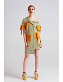 preiswerte Damen Kleider-Damen Etuikleid Kleid - Gemischte Farbe, Einfarbig Plaid/Karomuster Ein-Schulter