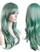 cheap Women's Swimwear & Bikinis-Synthetic Wig Natural Wave Synthetic Hair Green Wig Women's Long Capless