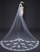 cheap Wedding Veils-One-tier Cut Edge Lace Applique Edge Pencil Edge Wedding Veil Cathedral Veils 53 Appliques Embroidery Ruched Ruffles Tulle