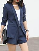 olcso Női kétrészes kosztümök-Női Előírásos Egyszínű Modern/kortárs Nadrág Háromnegyedes V-alakú Nyár