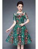 baratos Vestidos de Mulher-Mulheres Tamanhos Grandes balanço Vestido Bordado