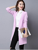 cheap Women's Sweaters-Women's Long Sleeve Cotton Cardigan - Solid Colored V Neck / Fall