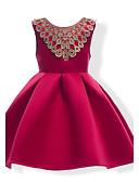 baratos Vestidos para Meninas-Menina de Vestido Sólido Verão Algodão Poliéster Sem Manga Laço Azul Vermelho