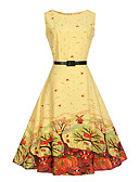 cheap Women's Dresses-Women's Holiday / Work Vintage Cotton A Line Dress - Botanical Print High Rise / Summer