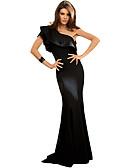 preiswerte Damen Kleider-Damen Bodycon Kleid Solide Maxi Schulterfrei Hohe Hüfthöhe
