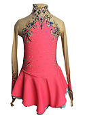 cheap Ice Skating Dresses , Pants & Jackets-Figure Skating Dress Women's / Girls' Ice Skating Dress Pink+Red Spandex Rhinestone / Appliques High Elasticity Performance Skating Wear