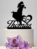 baratos Vestidos para Madrinhas-Decorações de Bolo Tema Clássico / Romance / Casamento Casal Clássico Plástico Casamento / Aniversário com 1 pcs Bolsa Poly