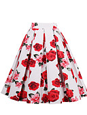 cheap Women's Skirts-Women's Going out Holiday Cotton A Line Skirts - Floral