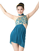 cheap Ice Skating Dresses , Pants & Jackets-Latin Dance Outfits Women's Performance Spandex / Sequined Sequin / Side-Draped Sleeveless High Dress / Shorts / Scarf