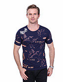 baratos Camisetas & Regatas Masculinas-Homens Tamanhos Grandes Camiseta Animal Algodão Decote Redondo
