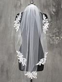 baratos Véus de Noiva-Uma Camada Borda com aplicação de Renda Véus de Noiva Véu Ponta dos Dedos com Apliques Renda / Tule / Mantilha