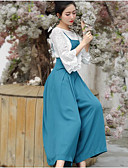 cheap Women's Pants-Women's Chinoiserie Silk Wide Leg / Overalls Pants - Solid Colored Pure Color High Waist