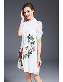 cheap Women's Two Piece Sets-Women's Vintage / Chinoiserie Loose Dress - Flower / Floral Embroidered Shirt Collar
