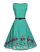 cheap Women's Dresses-Women's Work Vintage Cute A Line Dress Print High Rise