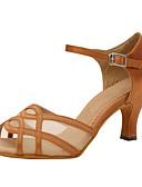 cheap Fashion Hats-Women's Latin Shoes Silk Sandal Criss-Cross Stiletto Heel Customizable Dance Shoes Almond / Performance / Leather