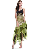 cheap Women's Dresses-SHE IN SUN Women's Club Slim A Line Dress - Lace Printing, Layered Mesh Maxi V Neck