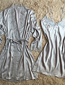 cheap Robes & Sleepwear-Women's Suits Satin & Silk Robes Nightwear - Lace, Solid Colored