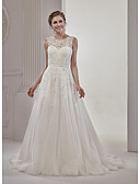 cheap Wedding Dresses-A-Line Illusion Neckline Court Train Tulle Over Lace Wedding Dress with Appliques Lace by Marrica