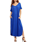cheap Women's Dresses-Women's Cotton Loose Dress - Solid Colored Blue Maxi V Neck