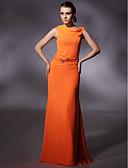 hesapli Gece Elbiseleri-Sütun Dökümlü Yaka Yere Kadar Şifon Kristal Detaylar / Kurdeleler ile Balo / Resmi Akşam / Askeri Balo Elbise tarafından TS Couture® / Ünlü Stili