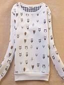 tanie Damskie bluzy z kapturem-Damskie Bawełna Spodnie - Nadruk Biały / Wiosna